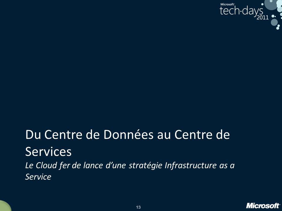 Du Centre de Données au Centre de Services Le Cloud fer de lance d'une stratégie Infrastructure as a Service