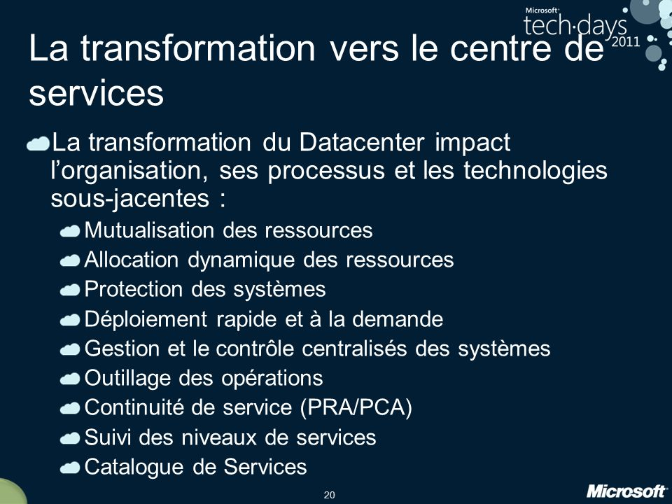 La transformation vers le centre de services