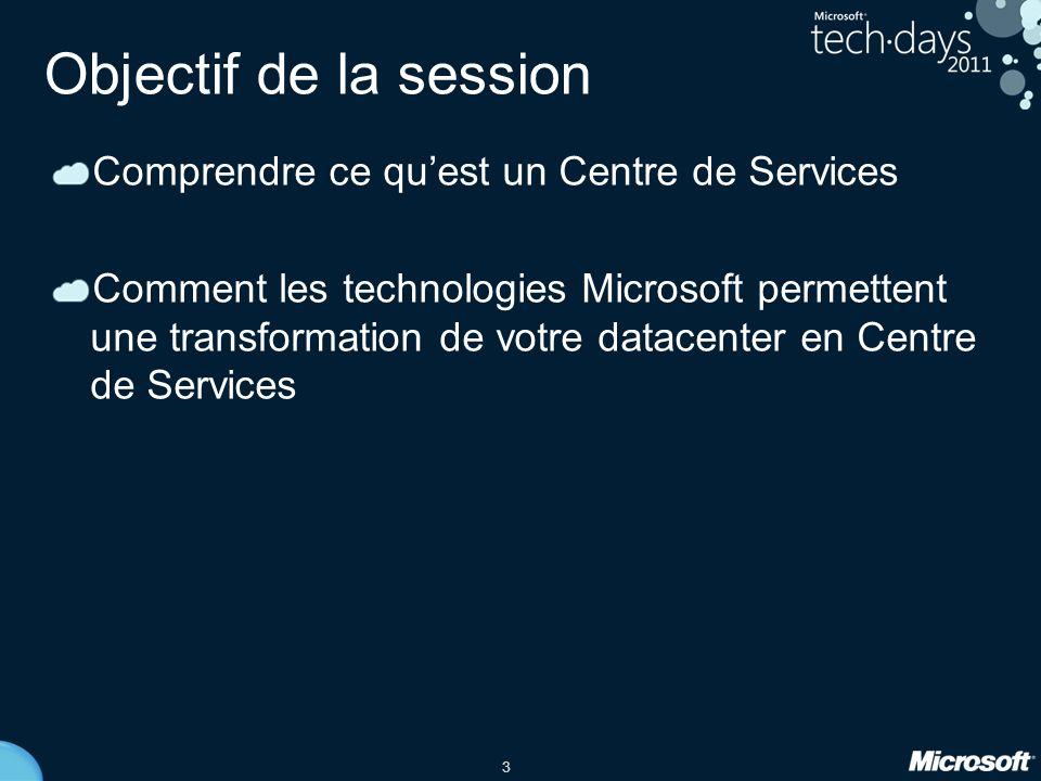 Objectif de la session Comprendre ce qu'est un Centre de Services