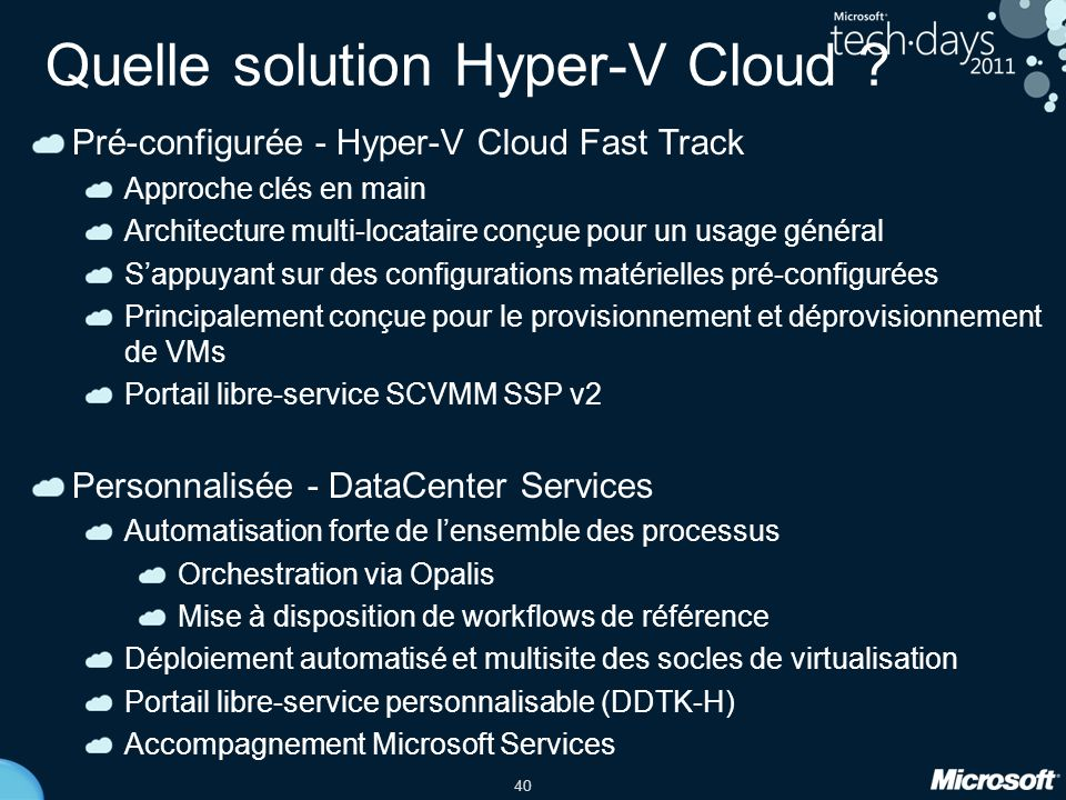 Quelle solution Hyper-V Cloud