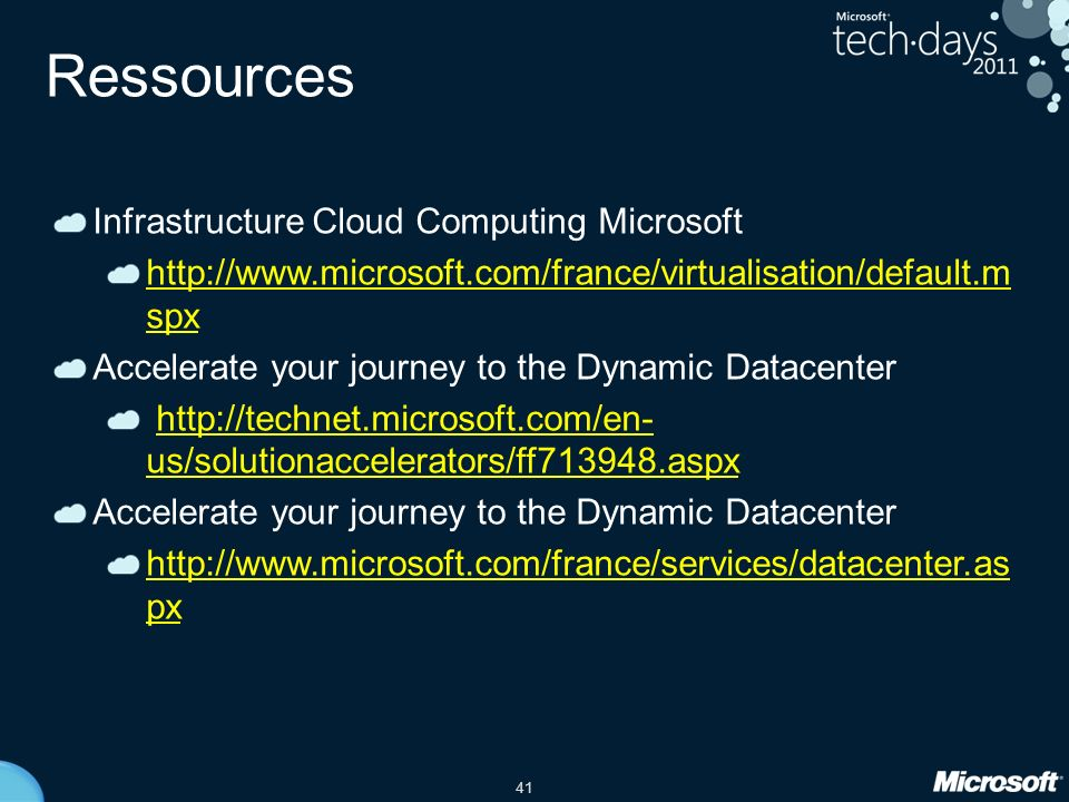 Ressources Infrastructure Cloud Computing Microsoft