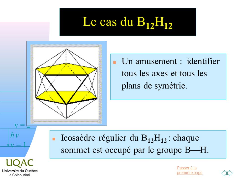 Le cas du B12H12 Un amusement : identifier tous les axes et tous les plans de symétrie.