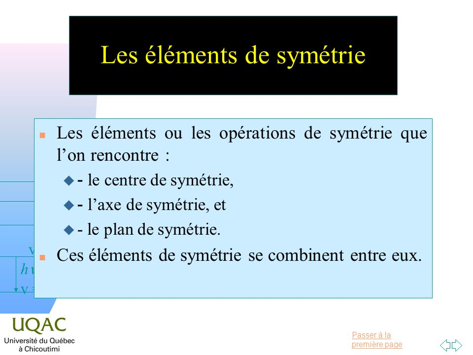 Les éléments de symétrie