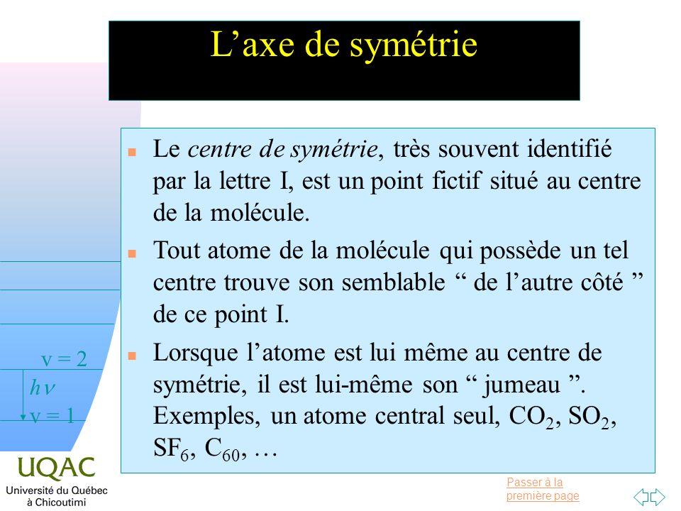 L'axe de symétrie Le centre de symétrie, très souvent identifié par la lettre I, est un point fictif situé au centre de la molécule.