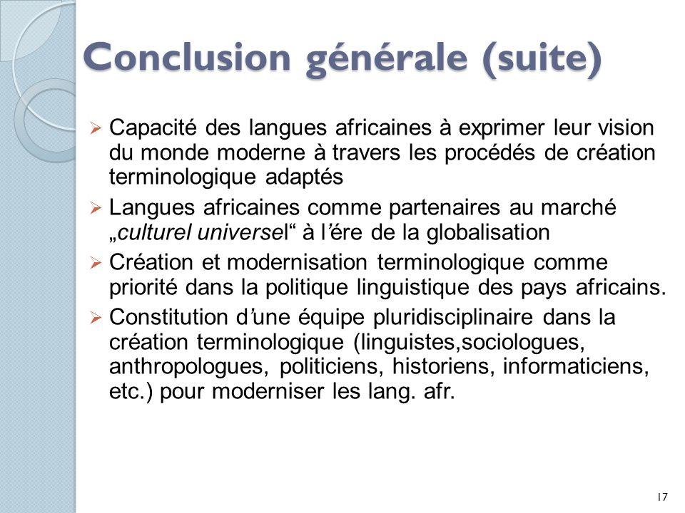 Conclusion générale (suite)