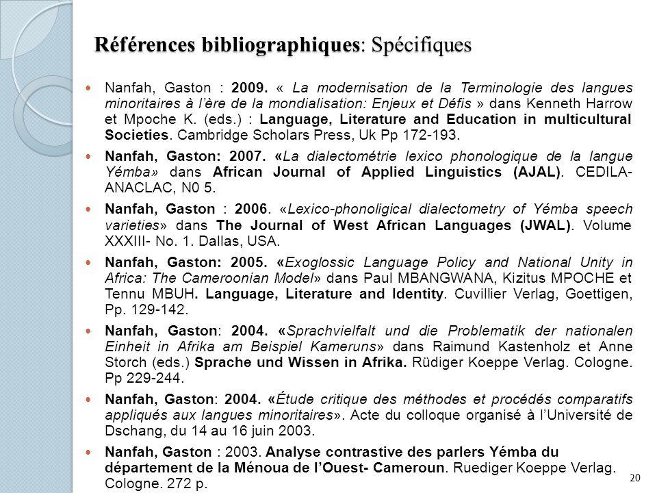 Références bibliographiques: Spécifiques