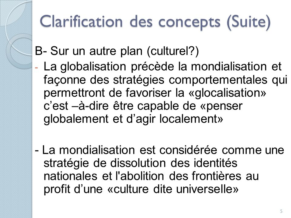 Clarification des concepts (Suite)