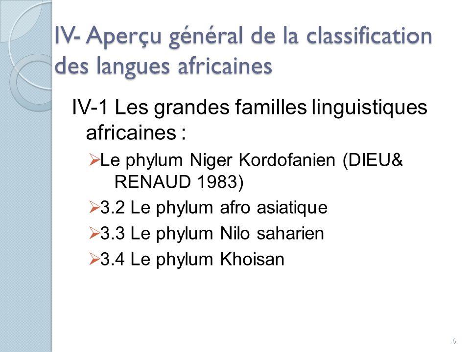 IV- Aperçu général de la classification des langues africaines