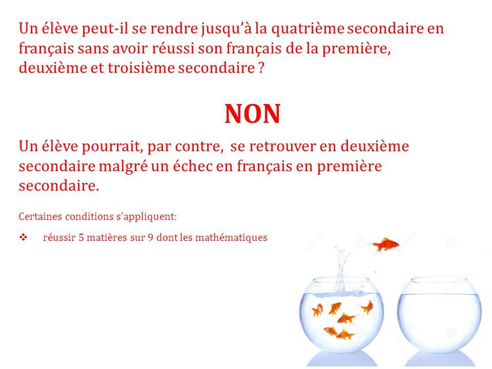 Un élève peut-il se rendre jusqu'à la quatrième secondaire en français sans avoir réussi son français de la première, deuxième et troisième secondaire