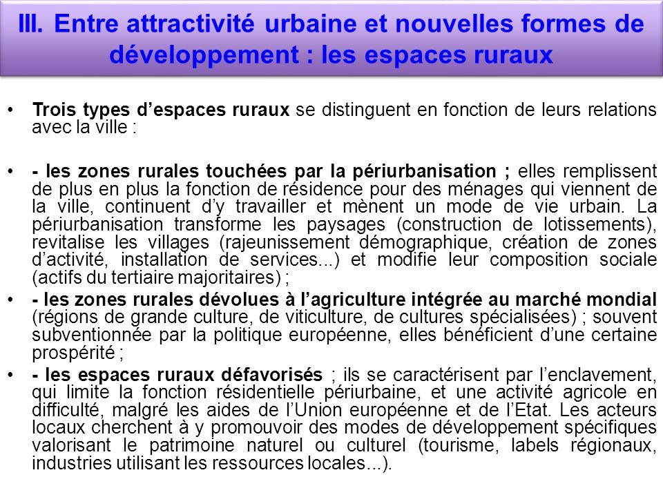III. Entre attractivité urbaine et nouvelles formes de développement : les espaces ruraux