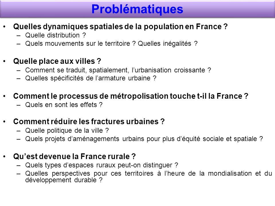 Problématiques Quelles dynamiques spatiales de la population en France Quelle distribution