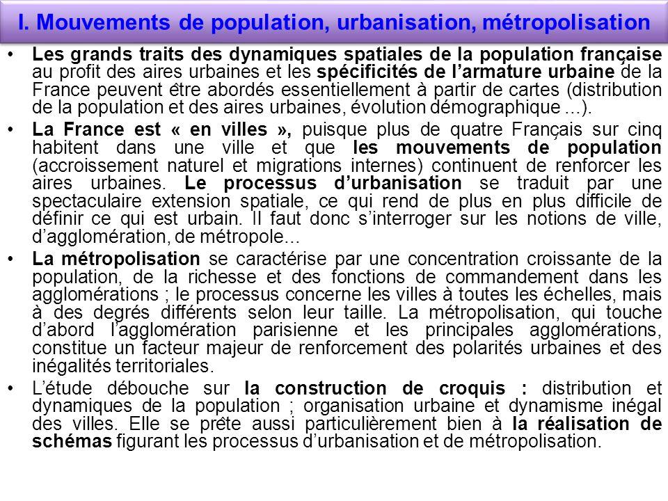 I. Mouvements de population, urbanisation, métropolisation