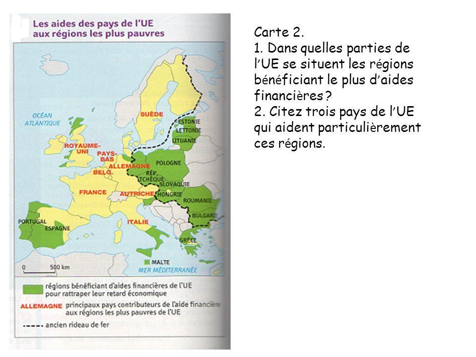 4. Carte et texte : Les grandes métropoles, le PIB le plus élevé et les infrastructures de transport sont-ils bien répartis Justifiez votre réponse en distinguant deux grands types d'espace dans l'UE.