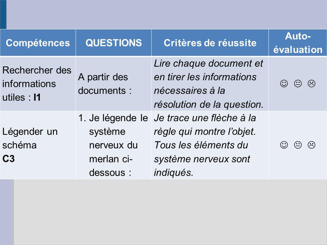 Compétences QUESTIONS. Critères de réussite. Auto-évaluation. Rechercher des informations utiles : I1.