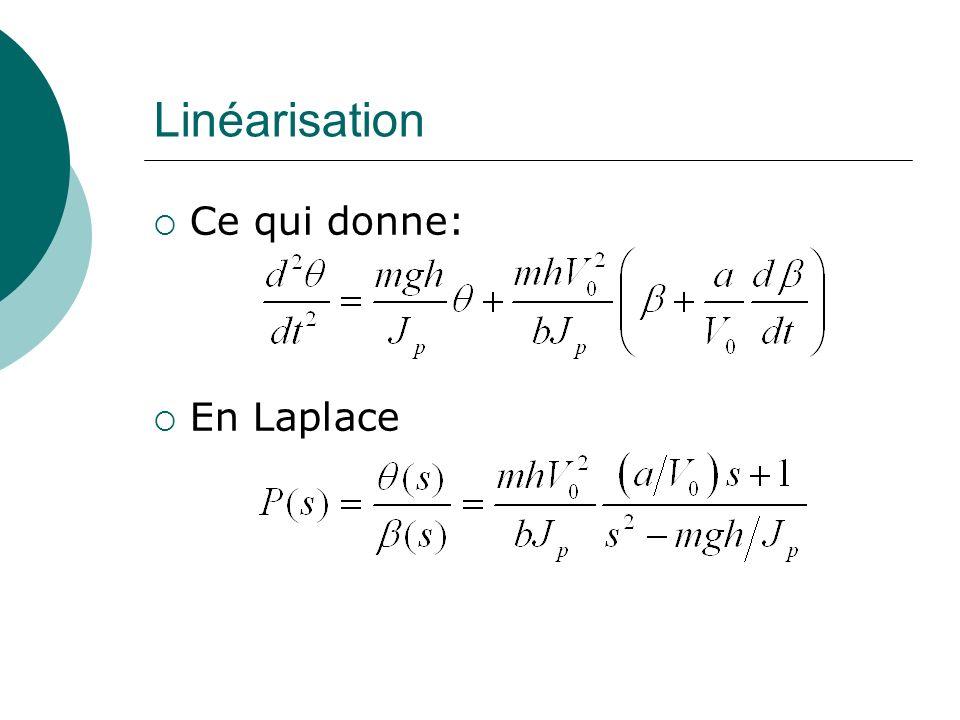 Linéarisation Ce qui donne: En Laplace
