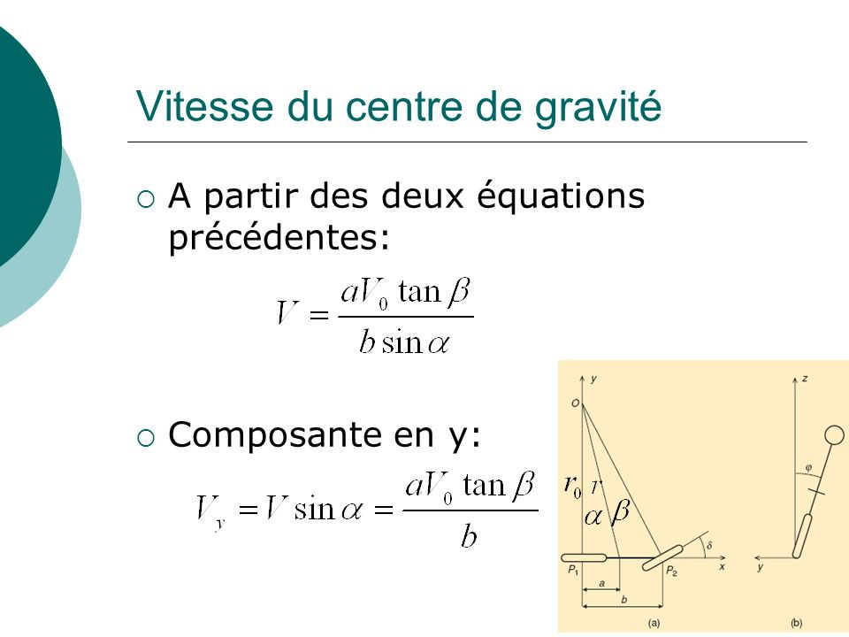 Vitesse du centre de gravité
