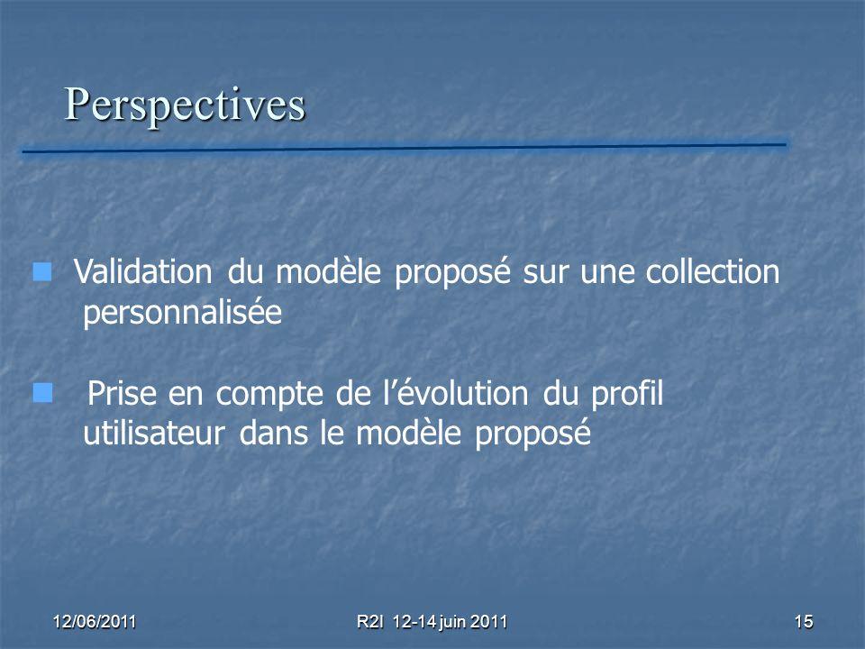 Perspectives personnalisée Prise en compte de l'évolution du profil