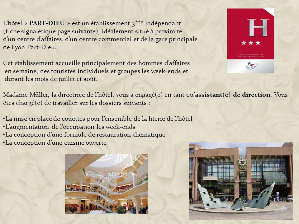 L'hôtel « PART-DIEU » est un établissement 3*** indépendant
