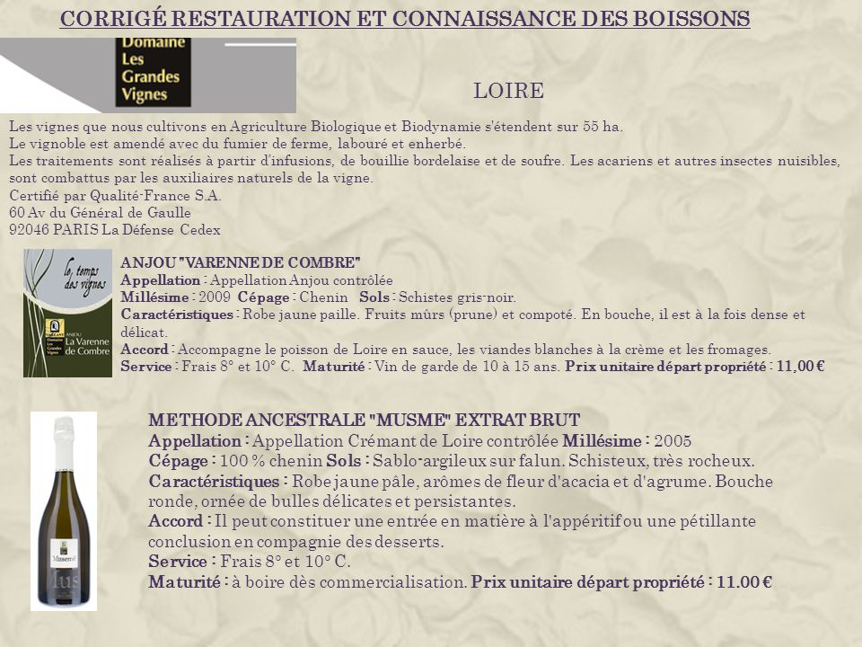 CORRIGÉ RESTAURATION ET CONNAISSANCE DES BOISSONS