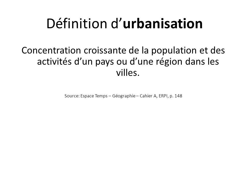 Définition d'urbanisation