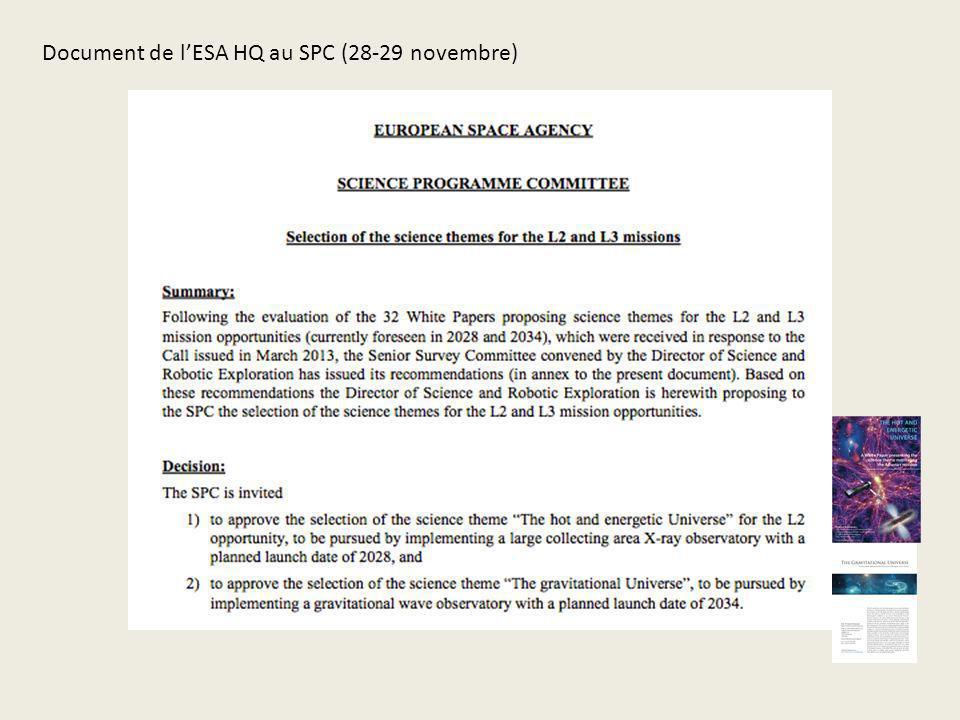 Document de l'ESA HQ au SPC (28-29 novembre)