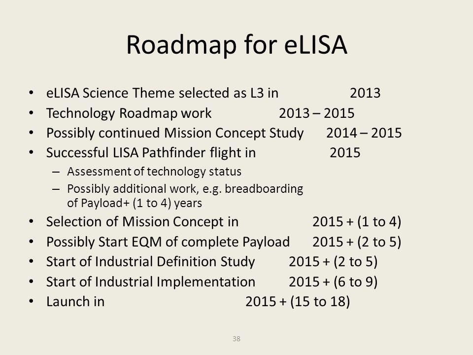 Roadmap for eLISA eLISA Science Theme selected as L3 in 2013