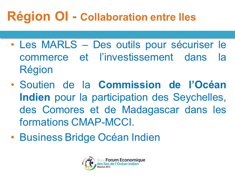 Région OI - Collaboration entre Iles