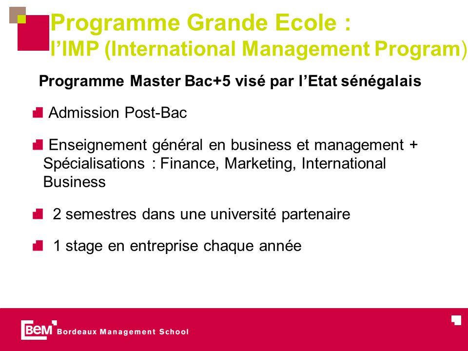 Programme Grande Ecole : l'IMP (International Management Program)