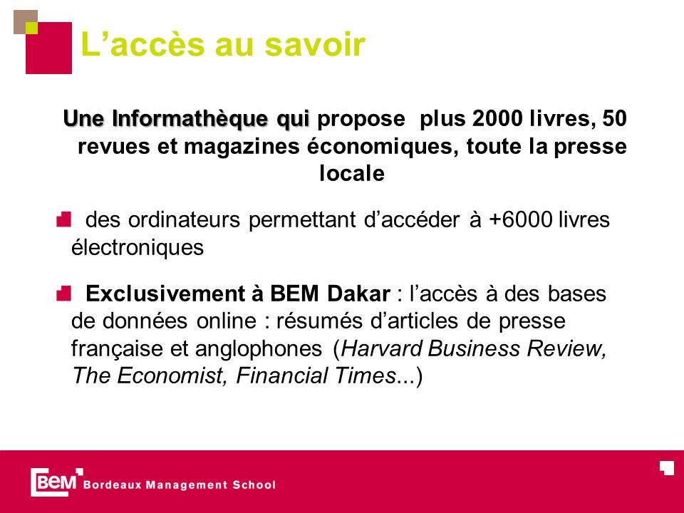L'accès au savoir Une Informathèque qui propose plus 2000 livres, 50 revues et magazines économiques, toute la presse locale.