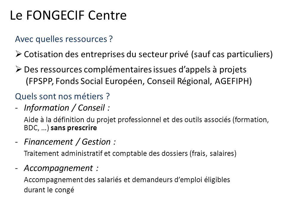 Le FONGECIF Centre Avec quelles ressources