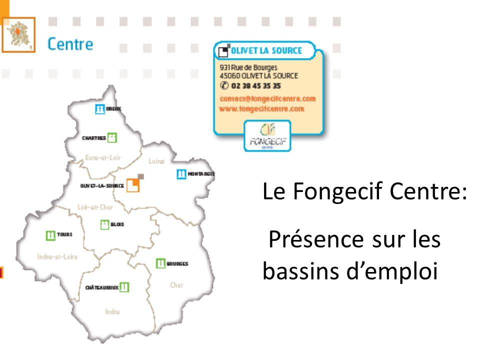 Le Fongecif Centre: Présence sur les bassins d'emploi