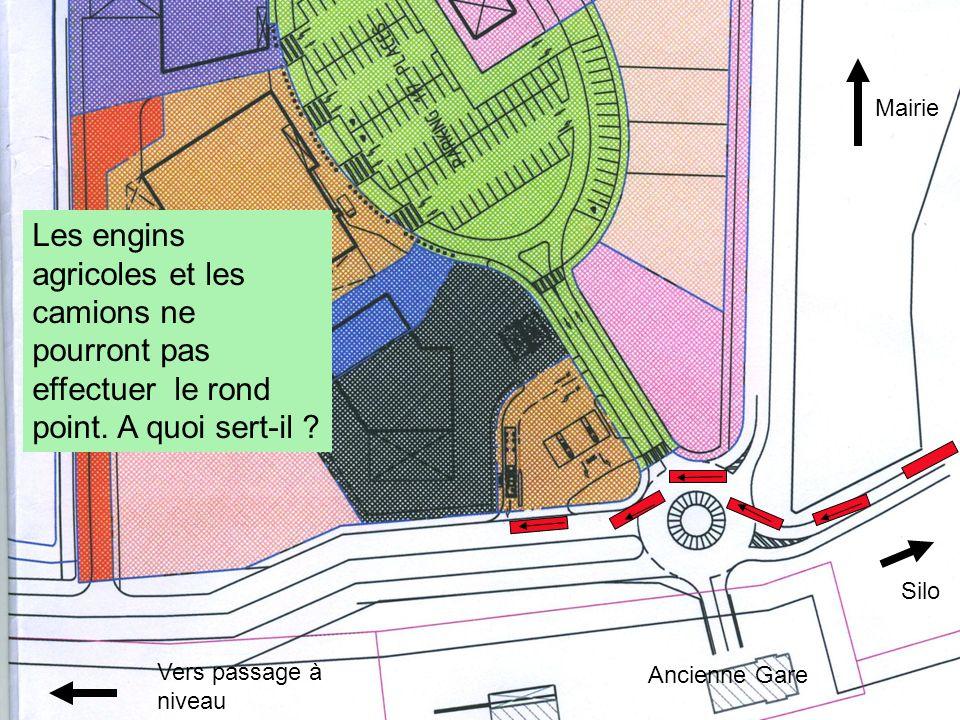 Mairie Les engins agricoles et les camions ne pourront pas effectuer le rond point. A quoi sert-il