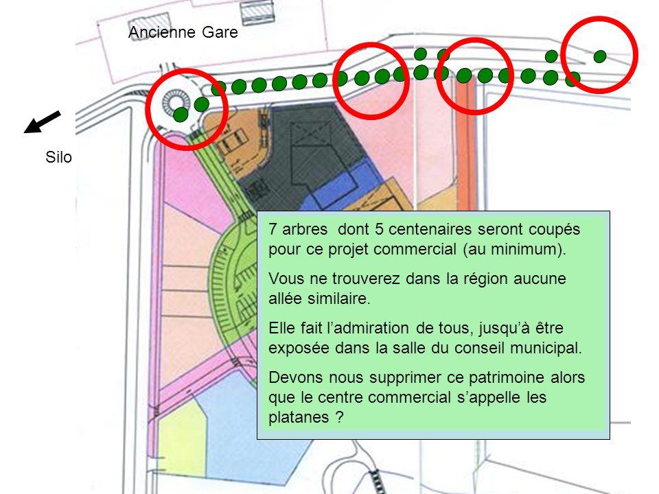 Ancienne Gare Silo. 7 arbres dont 5 centenaires seront coupés pour ce projet commercial (au minimum).