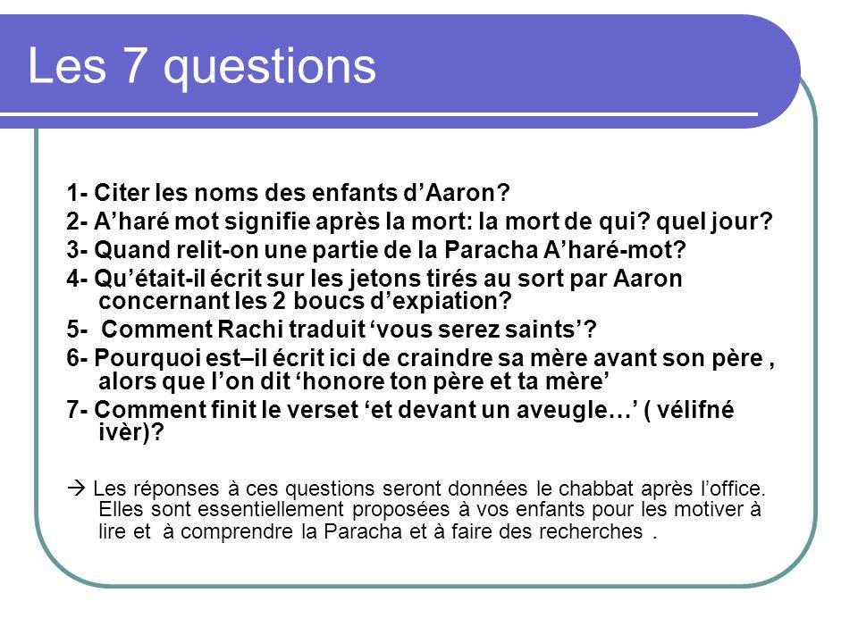 Les 7 questions 1- Citer les noms des enfants d'Aaron