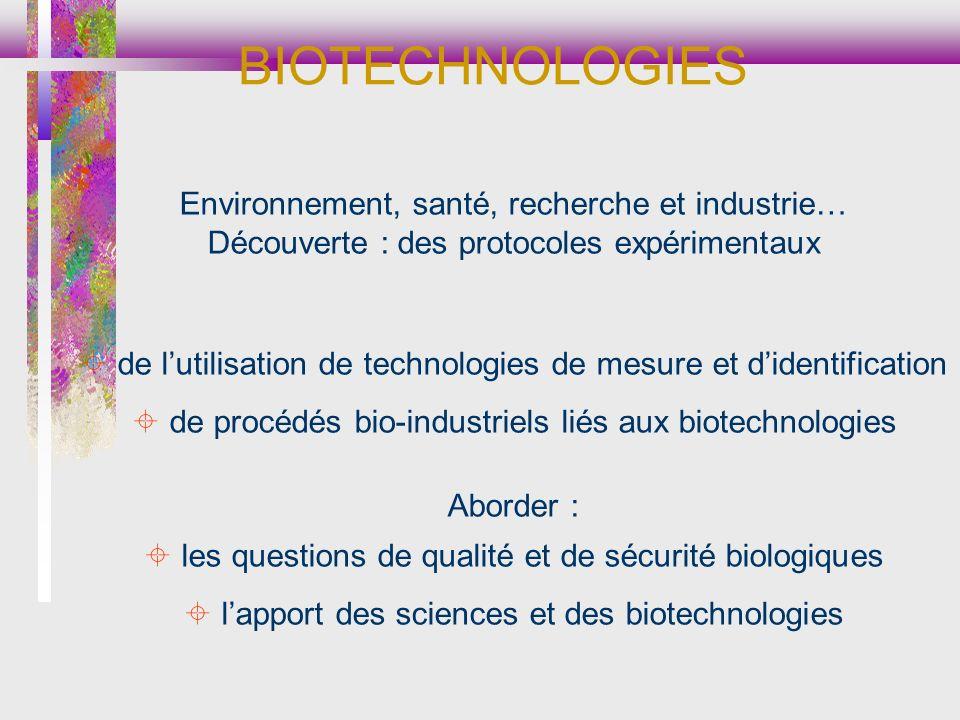 BIOTECHNOLOGIES Environnement, santé, recherche et industrie…