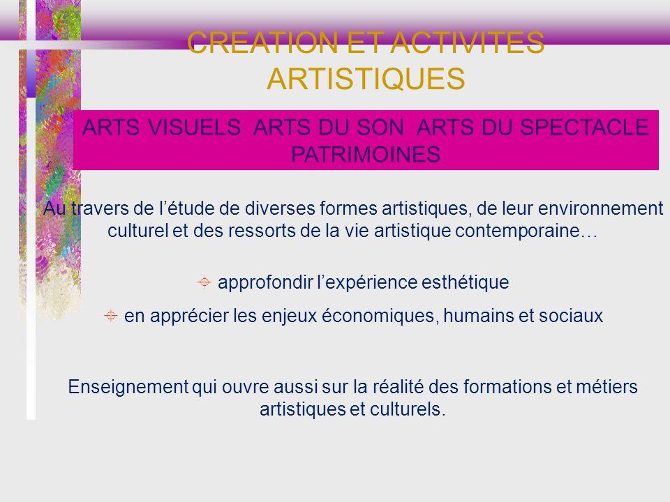 CREATION ET ACTIVITES ARTISTIQUES