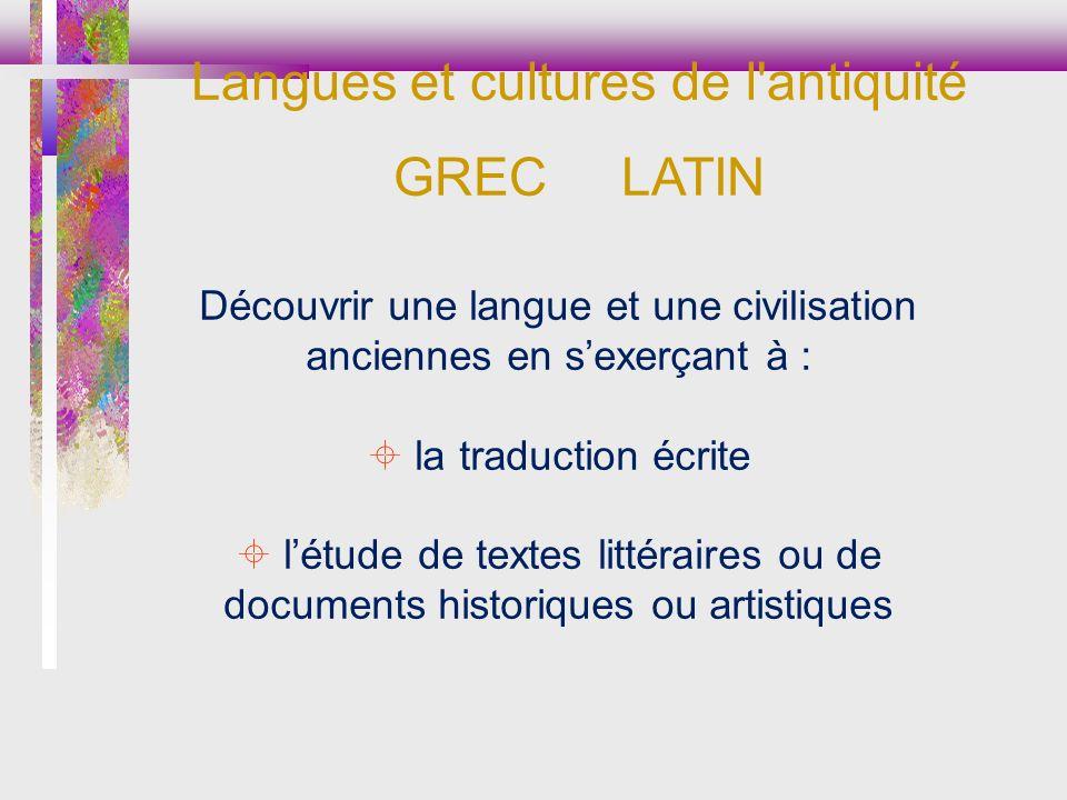 Langues et cultures de l antiquité GREC LATIN
