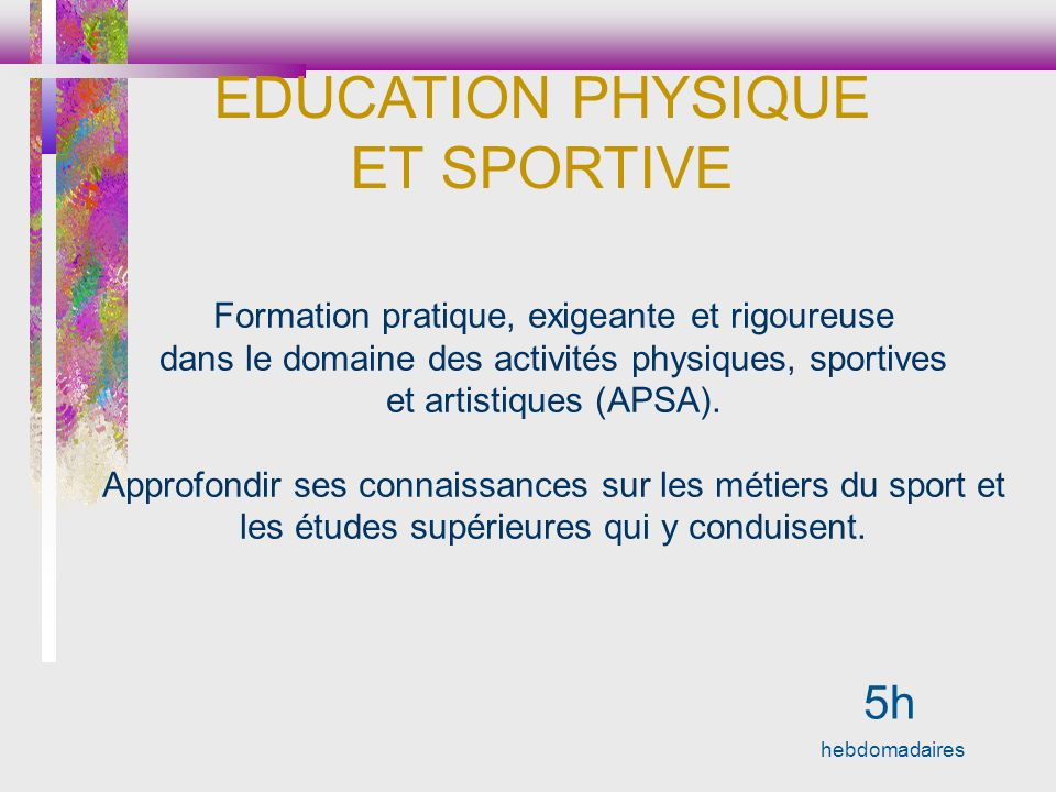 EDUCATION PHYSIQUE ET SPORTIVE