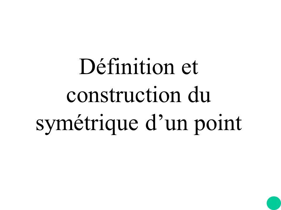 Définition et construction du symétrique d'un point
