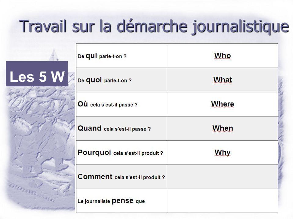 Travail sur la démarche journalistique