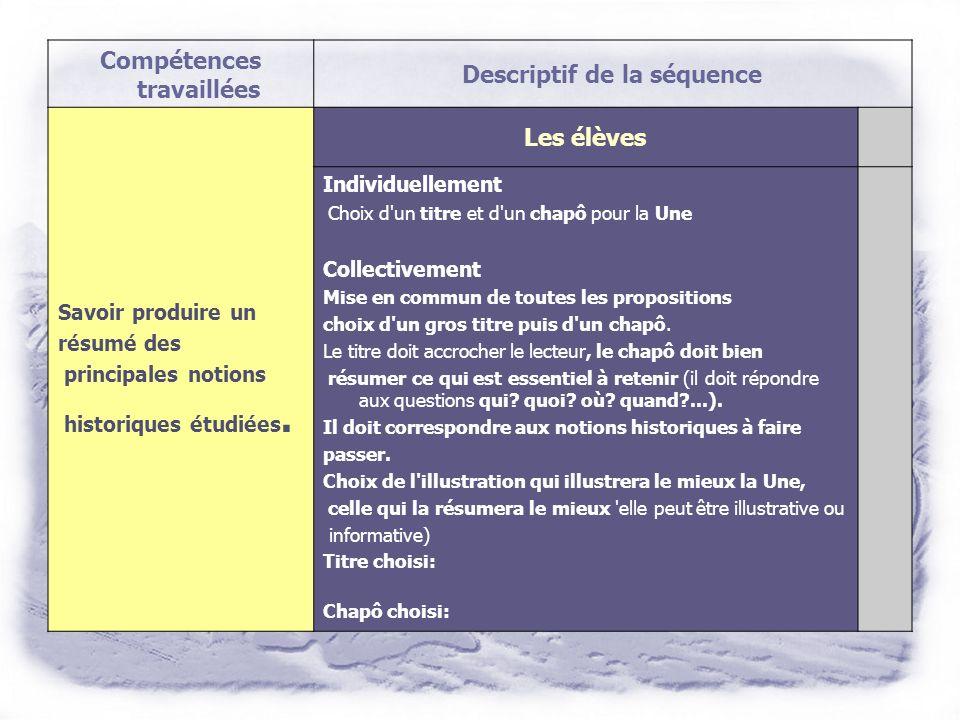 Compétences travaillées Descriptif de la séquence