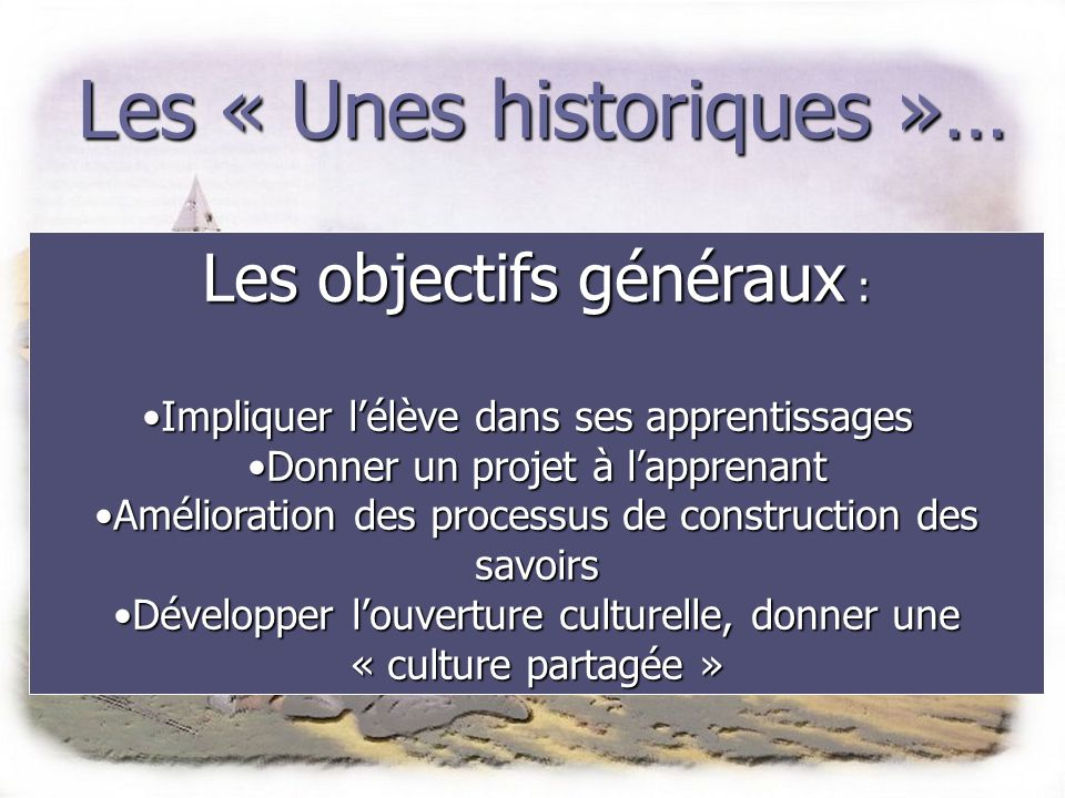 Les « Unes historiques »…