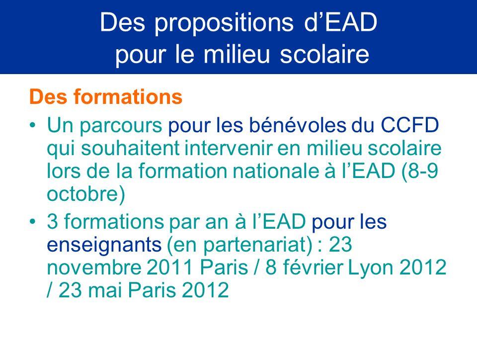 Des propositions d'EAD pour le milieu scolaire