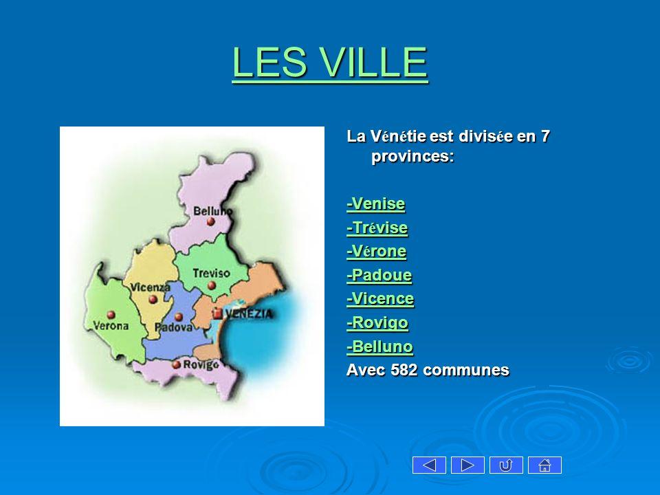 LES VILLE La Vénétie est divisée en 7 provinces: -Venise -Trévise