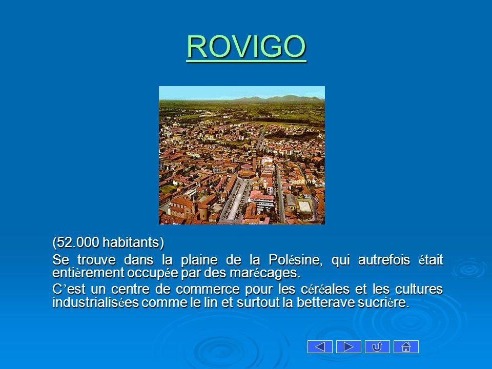 ROVIGO (52.000 habitants) Se trouve dans la plaine de la Polésine, qui autrefois était entièrement occupée par des marécages.