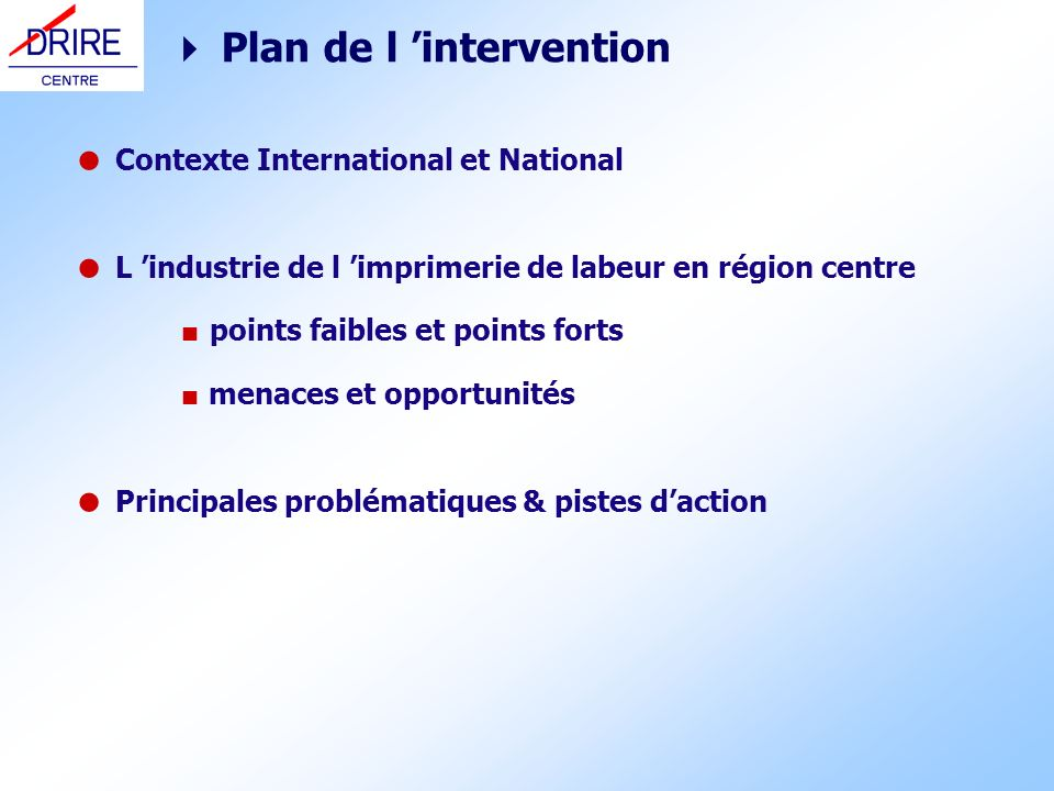  Plan de l 'intervention