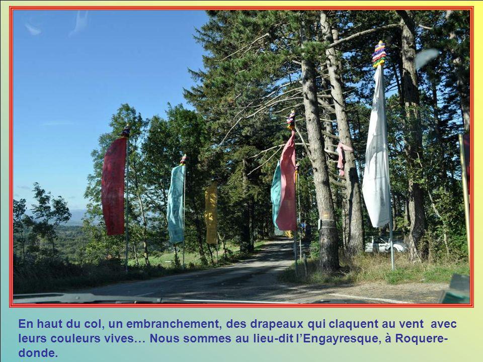 En haut du col, un embranchement, des drapeaux qui claquent au vent avec leurs couleurs vives… Nous sommes au lieu-dit l'Engayresque, à Roquere-donde.