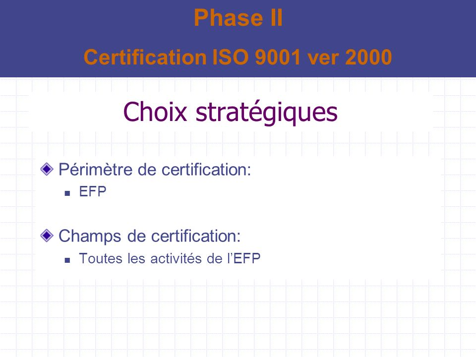 Choix stratégiques Phase II Certification ISO 9001 ver 2000