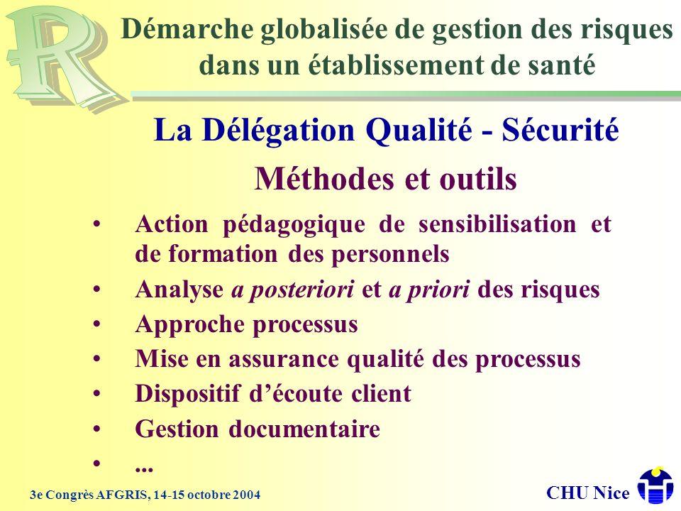 La Délégation Qualité - Sécurité Méthodes et outils