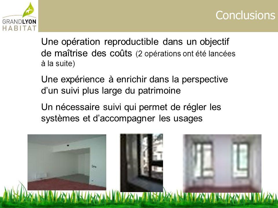 Conclusions Une opération reproductible dans un objectif de maîtrise des coûts (2 opérations ont été lancées à la suite)
